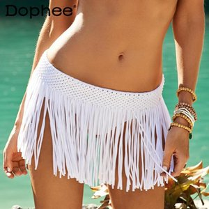 Women's Swimwear 2021 Summer Clothing Elastic Embroidery Tassel Little Mini Skirt Cover Up Beach Seaside Vacation Bikini Shorts
