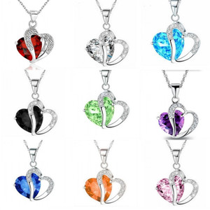10 colors Luxury Austrian Crystal Necklaces Women Rhinestone Heart shaped Pendant Silver Chains Choker Fashion Jewelry Gift Bulk 151 R2