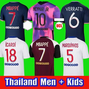 20 21 PSG MBAPPE ICARDI soccer jersey Maillots de football shirts 2020 2021 NEYMAR JR MARQUINHOS VERRATTI  men + kids kit  fourth