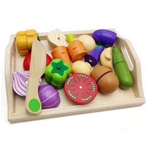 Wooden Classic Game Simulation Kitchen Series Toys Cutting Fruit Vegetable Set Toys Montessori Early Education Gifts 210308
