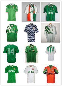 Top Thailand Ретро Ирландия Футбольные трикотажки 1990 1991 1992 1993 1993 1994 Винтажная футболка в футбол 90 91 92 93 94 Национальные наборы набора человека Uinform S до XXL