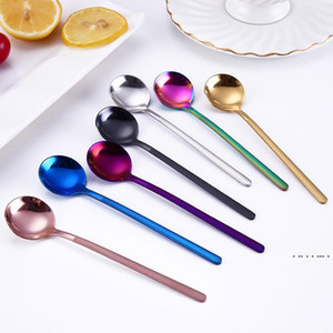 304 Stainless Steel Spoon 13CM Round Coffee Spoons Stirring Spoon 7 Color Mini Dessert Spoon Kitchen Bar Table Tableware EWF5309