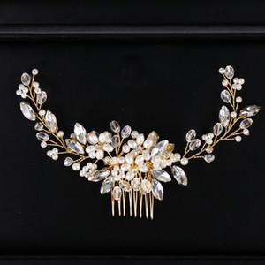 Trendy Gold Pearl Crystal Bridal Hair Comb Hair Accessories Wedding Bridal Headpiece Hair ornaments Bride Women Jewelry10