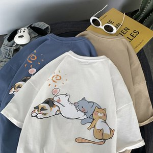 2021 Yeni Latimeelon Kawaii Kedi Baskı T-shirt Erkek Yaz Komik Harajuku Tshirt Streetwear Erkekler Moda Japonya Hip Hop Yarım Kollu T Shirt 26R