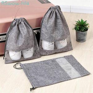 2Pcs Portable Travel Good Shoe Pocket Washable Imitation Drawstring Pocket Visible Hangable Linen Drawstring Bag PVC Dimity