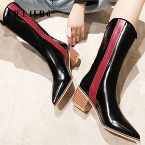 Ribetrini Fashion Women Patent Motorcyle Boots 2019 Talón de madera Punto de madera Punta de punta Mujer Microfibra Mid becerro botas de invierno botas N6HV #