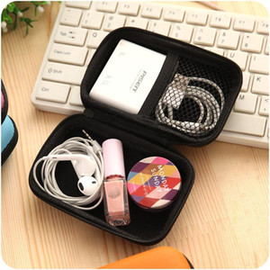 Headphone Case PU Leather Earbuds Pouch Mini Zipper Earphone box Protective USB Cable Organizer Fidget Spinner Storage Bags 5 Color HB
