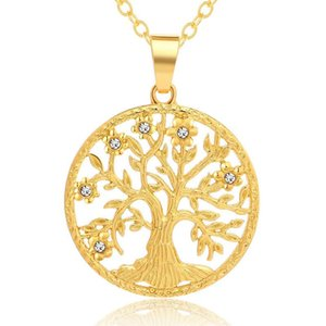 CZ Tree Life authober eceleass Женщины Мужчины Ювелирные Изделия Золотые цепные воротнички Круглый круг Семейное дерево Очарование Ожерелье Crystal Choker