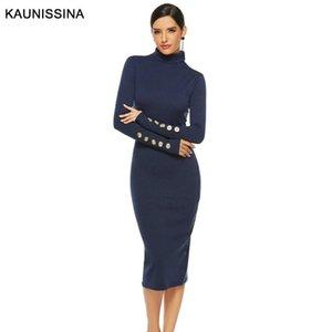 Kaunissina automne hiver robe cocktail robe à manches longues à manches longues longueur genou tricoté bodycon homécarrage robe robe de soirée 8 tailles