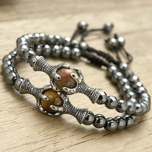 Mens Bracelet 2021 Natural Hematite Braslet Stone Vintage Dragon Claw Animal Braclet Braided Present For Husband