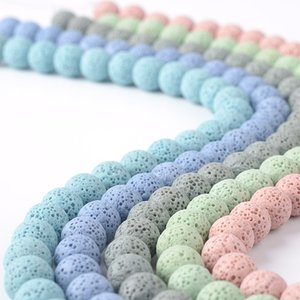 10mm Volcanic Lava stone Loose Beads Essential Oil Diffuser Charm Beaded Jewelry Making Accessories