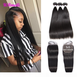 Indian Straight Hair Bundles With Closure Raw Virgin Indian Hair Weave 3 Bundles With 5x5 Lace Closure Human Hair Bundles With Closure