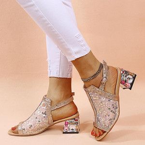 Women Sandals Summer Woman Shoes Square Heel Fashion Sexy Crystal with Mesh High Heel Shoes Women Ladies and Sandels