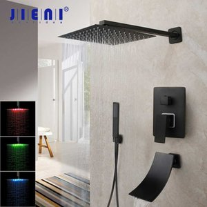 JIENI 8 16 Inch Matte Black Rainfall Shower Faucet Tub Led Bathtub Rain Square Shower Head Waterfall Spray Shower Faucet Set T200612