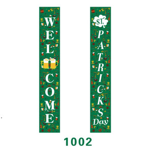 St. Patricks Day Printing Hanging Sign Irish Festival Porch Sign Clover Front Door Curtain Decor Home Door Banner Couplets DHF4923