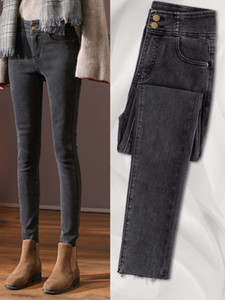Cashmere jeans women's small feet show thin high waist autumn and winter 2020 new soot black tight pants