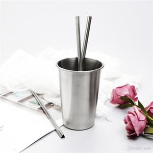 "21.5 CM 8.5"" Heart Shaped Stainless Steel Metal Drinking Straw Reusable Portable E-co Friendly Tubes Home Bar Party Accessories JK1911"