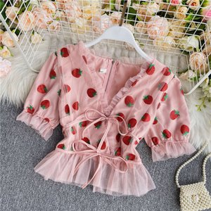 Age reducing sweet strawberry V-neck bubble sleeve wood ear edge chiffon shirt slim tie short foreign style top summer
