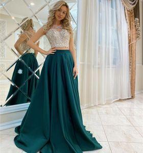 2021 Two Pieces Evening Dresses O-Neck Lace Applique Top Vestidos De Novia Long Sweep Satin A Line Prom Gowns