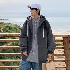 Men's Jackets 2021 Autumn Hooded Coats Solid Loose Jogging Clothing Fashion Oversize Streetwear Colors Zipper Windbreakers White