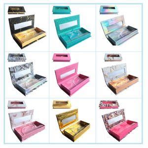 False eyelash packaging box lash boxes packaging custom logo faux cils mink eyelashes Jewellery magnetic square case