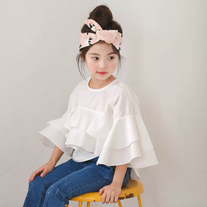 Children T Shirts Child Shirt Girls T Shirts Kids Clothes Summer Cotton White Girls Tops Blouses 3-8Y B4287