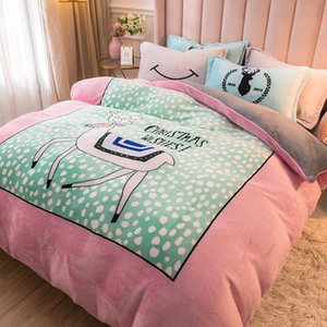 Sheets & Sets Elk Pink Soft Coral Velvet Warm And Comfortable Home Textile Quilt Cover Four-piece Set Sheet