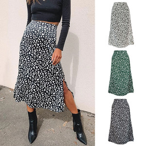 2020 Spring And Summer Women's Leopard Print Chiffon Printed Split Skirt Sexy Zipper High Waist Medium-length Dress