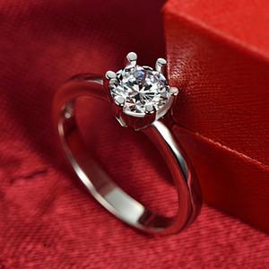 Silver Jewelry Factory Direct Wholesale S925 Silver Ring Female Six Claw Rhinestone Zircon 1 Karat Diamond Ring Proposal Single Ring