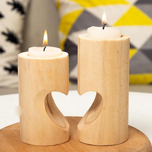 Heart-shaped Craft Wooden Candlestick Shelf Valentine's Day Decoration Gift Scented Candle Making Wedding Decor Candle Holders