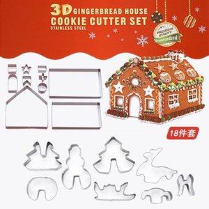 18 قطع 3d الزنجبيل بيت المقاوم للصدأ سيناريو عيد الميلاد القواطع كوكي مجموعة البسكويت العفن فندان القاطع أداة الخبز