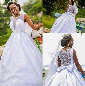 Luxury Beading Back Wedding Dresses Plus Size Satin Bow Sweep Train Sleeveless Crystals Scoop Neck Custom Made African Wedding Gown Vestidos