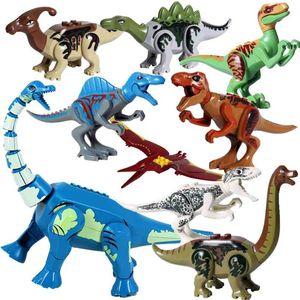 8 шт. / Лот Юрский Дино Мир Тиранозавр Рекс Wyvern Velociraptor Stegosaurus Строительные Наборы Bolcks Динозавр Фигурки Raptor Toy 210803