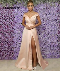 Plus Size Woman Lady Sleeveless Off-Shoulder Formal Bridesmaid Dresses Mermaid V-Neck Thigh-High Slits Girl Gown Custom Satin