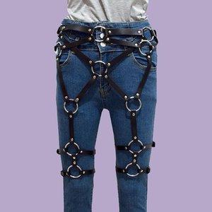 Pierna de cuero arnés cinturón tirantes sexy ligas cinturones para mujer punk gótico sexo cuerpo trajes de esclavitud accesorios de suspensión