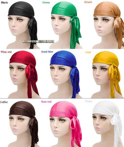 new arrived Fashion Men's Satin Durags Bandana Turban Wigs Men Silky Durag Headwear Headband Pirate Hat Hair Accessories