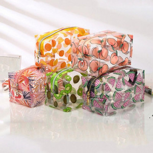 Transparent PVC Cosmetic Bag Waterproof Cartoon Fruits Pattern Makeup Toiletry Pouch Women Girl Multifunctional Storage Package OWA4001