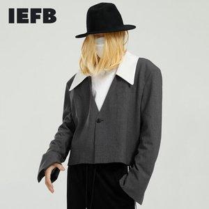 IEFB Ropa para hombre Moda coreana Blazer corto Insumo Cinturón Diseño 2021 Primavera Nuevo traje Abrigo Color Bloque Cuello Tops 9Y5834
