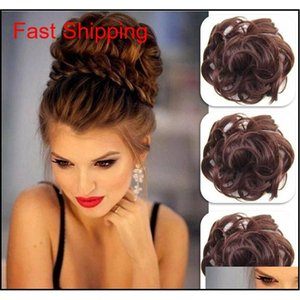 Pony Tail Hair Extension Bun Hairpiece Scrunchie Elastic Wave Curly Synthetic Hairpieces Wrap For Hair Bun Chigno qylrGb hotclipper