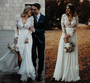 Country A Line Wedding Dresses Lace Appliques Deep V Neck Long Illusion Sleeves Bridal Gowns Sweep Train Bohemain Wedding Dress