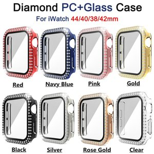 360 Full Cover Tempered Glass Anti-Scratch Film Screen Protector Cases Bling Diamond Protective PC Bumper For Apple Watch iWatch series 6 5 4 3 2 44mm 42mm 40mm 38mm