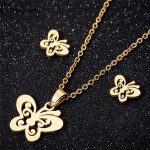 2021 Butterfly Necklaces Earrings Sets Gold Stainless Steel Jewelry Set Cute Animal Stud Earings for Women Best Friend Jewelry Gift