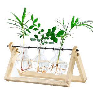 خمر الإبداعية النباتات المائية شفافة إناء إطار خشبي مقهى غرفة الزجاج المنضدية النباتات بونساي ديكور المنزل زهرة زهرية 694 k2