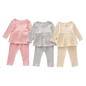 Kids Girls Solid Sets Infant Baby Ruffle Outfits Long Sleeve Tops Kids Casual Clothes Toddler Outfits Elastic Pants Vetement Bebe 061202