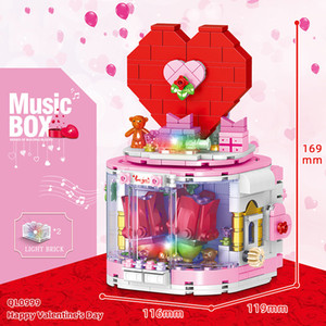 Revolving Light Music Box Building Block Romantic Valentine's Day Confession Boy Puzzle Toy Gift 520 Pieces of Building Block Assembled Toys