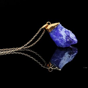 9 Styles Crystal Natural Gemstone Necklaces For Women Men Jewelry Plated Gold Chains Statement Crystal Necklaces HWE5125
