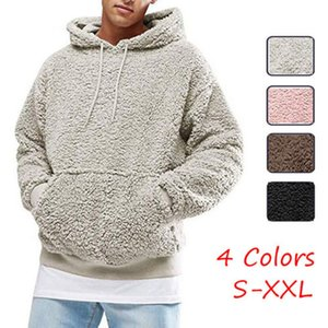 Mens Hoodie Sherpa Fleece Sweatshirts Fuzzy Long Sleeve Fall Outwear Winter Hooded with Kangaroo Pockets kg-23
