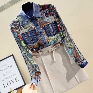 2021 Spring Summer Womens Chiffon Jean Patch Clothing Female Plus size Floral Loose Shirt Hollow Out Blouse and Tops LT294S30
