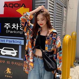 Aqoia koreanische stil patchwork langarm lose frauen bluse hemd inc taste up plus größe damen shirts 2021 herbst weibliche tops