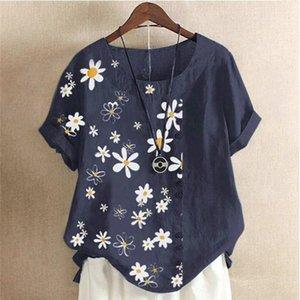 Женская летняя ромашка Print Blouse рубашка элегантные кнопки с коротким рукавом Пуловерные топы 2xL повседневная условная леди Blusa